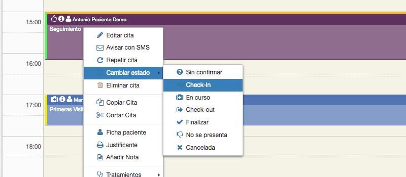 Check-in de citas desde el calendario de tu clínica