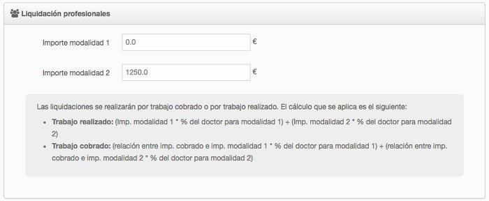 Configuración tratamientos para liquidación en la gestión de una clínica