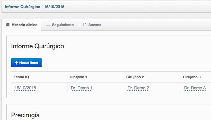 Detalle historia clínica en software de gestión de clínica