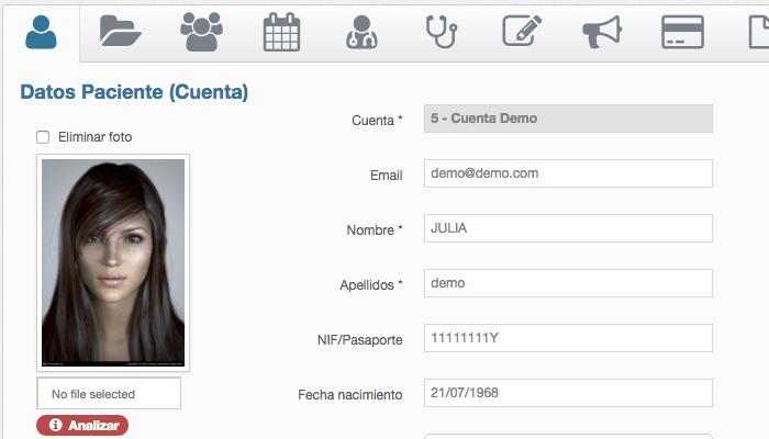Ficha principal de un paciente