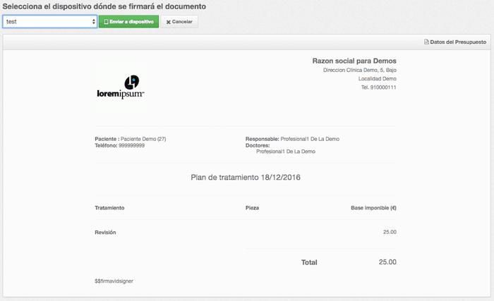 Firma digital de presupuestos en software para clínicas- Firma biométrica