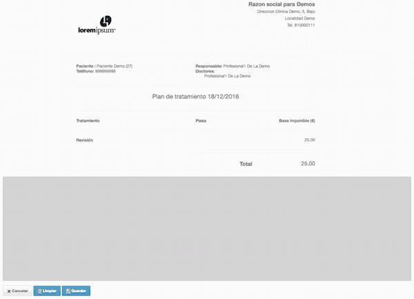 Firma digital de presupuestos en software para clínicas - Firma gráfica