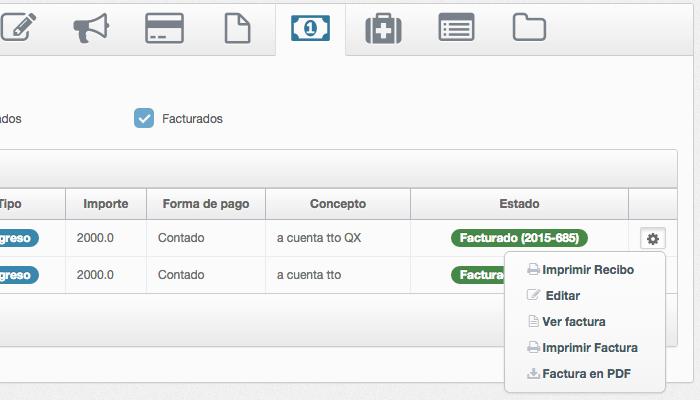 Listado de facturas en software de gestión de clínica