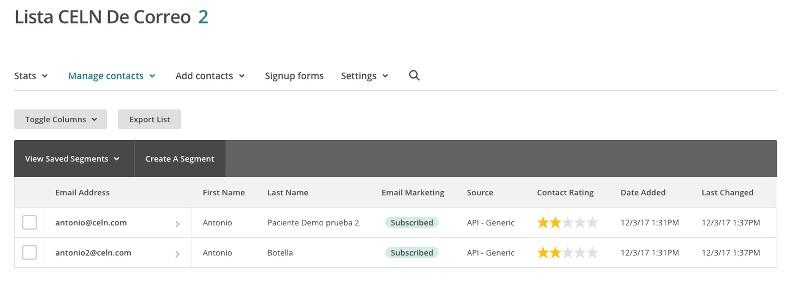 Contactos de la lista de MailChimp