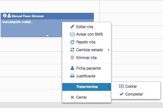 Acciones en software de citas médicas