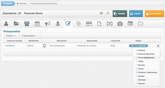 Firma digital de presupuestos en software para clínicas- Selección de presupuesto