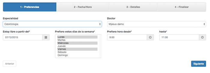 Petición cita por internet en software de citas médicas