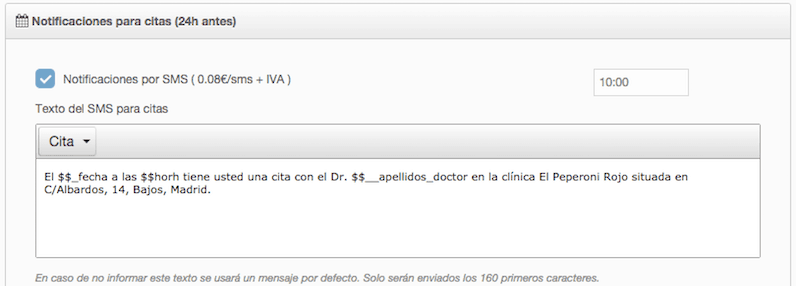 Personalización de SMS por clínica