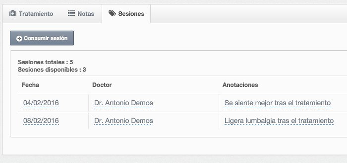 Detalle relaciones en software de gestión de clínica